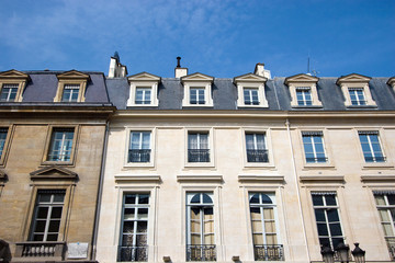 French apartments with a blue sky background