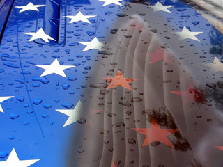 Recent rain drops on patriotic paint job