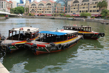 Tourist boat and river in the city