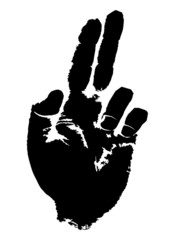 Print of a hand with two extended fingers