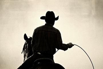 cowboy at the rodeo - shot backlit against dust, added grain Wall mural