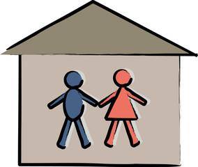homme femme dans une maison