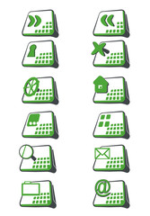 set of green icons for web site