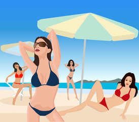 Attractive girl on exotic summer beach - illustration