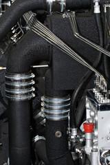inner parts of an powerful marine diesel engine