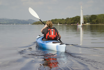 Female kayaker  on Lake Bala - landscape orientation