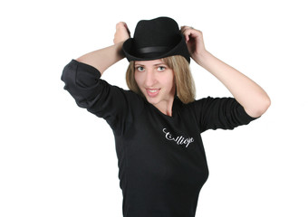 Beauty blonde girl with black hat on white background