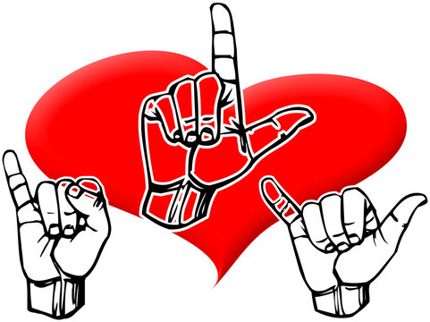 ILY I love you initialed in sign language and red heart