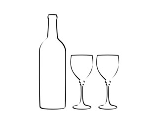 bottle and glass vector 2