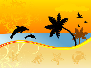 Summer background with dolphin, sea-gull, crab, starfish...