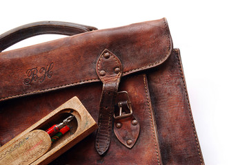 Vintage schoolbag, detail, isolated