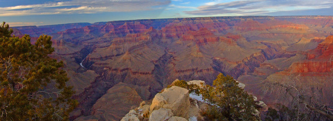 panoramic view of grand canyon with snow