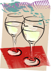 Wine for two grunge vector illustration