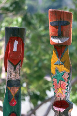 colorful totem sculpted i by the moken (sea-gypsy)