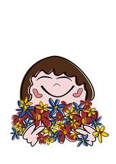 Mädchen mit den Händen voller Blumen