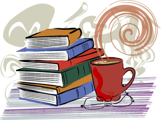 Books & coffee in grunge-style vector illustration.