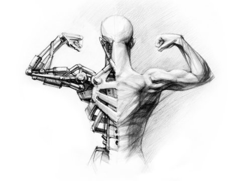 pencil's sketch of the  cyborg