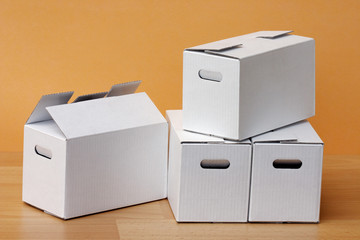 some white cardboard boxes
