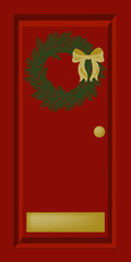 christmas door red
