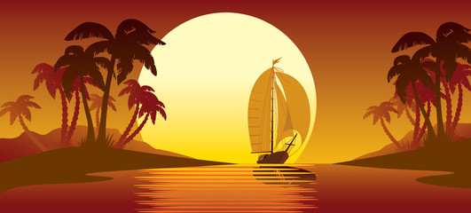 Tropical island sunset, palm trees and sailing vessel