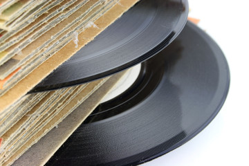 Close up of old Vinyl Records - focus on the record