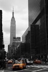 Yellow taxis on 35th street, Manhattan, New York