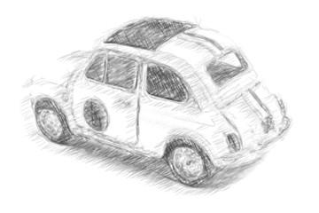 Small Car Model in Pencil Sketch