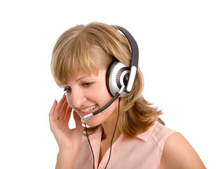 the attractive young blonde woman with headset