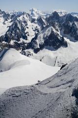 Skier on Mont Blanc mountain range