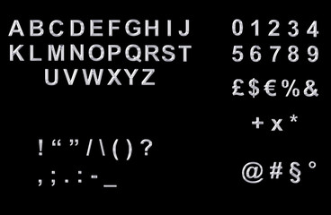 Platino:alfabeto,numeri,simboli e punteggiatura
