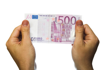 500 euro bank note in hands isolated