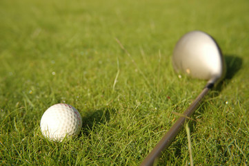 Golf ball and stick on the green grass field with moisture.