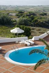 greek islands swimming pool panoramic vista greece
