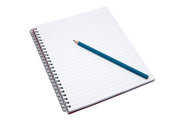 Blank notebook and pencil, isolated on white with clipping path.