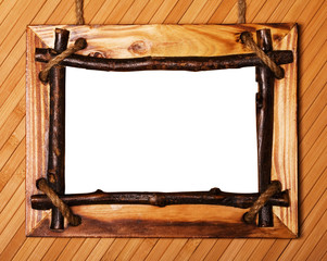 Close up view of wood frame on white