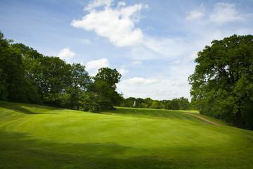 Golf fairway in British countryside