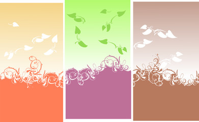 Color Backgrounds. Curves And Leaves.