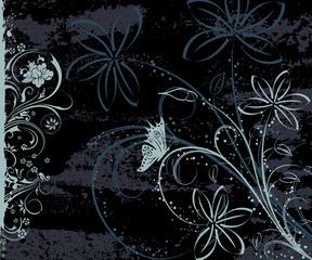 Grunge paint floral background with butterfly, vector