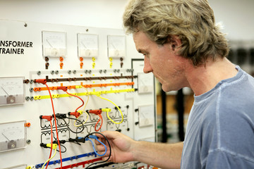 An electrician taking continuing education