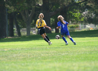 Girls chasing the ball in a soccer match