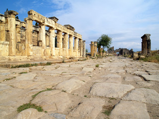 Road between ruins
