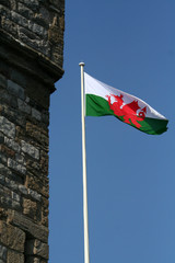 Welsh flag flying next to a castle