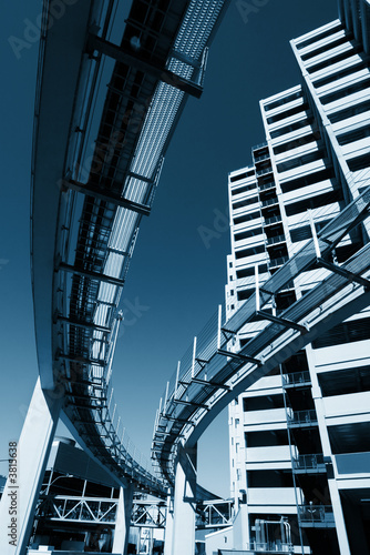 Fotobehang  Urban architecture. Buildings and monorail