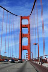 Driving on the Golden Gate bridge, San Francisco, Calif., USA