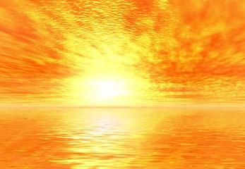 Yellow sunrise.3D landsacpe.