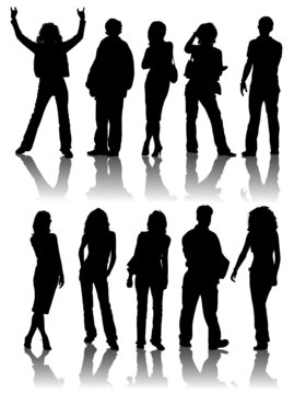 Vector silhouettes man and women, illustration