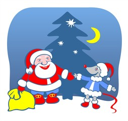 Santa Claus and mouse