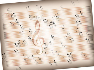 sheet of vintage paper with music notes texture