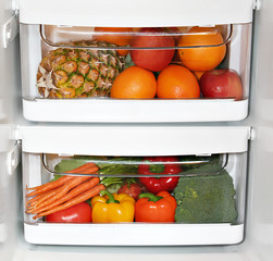 Fresh fruit and vegetables in the fridge.