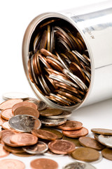 coins and can with white background